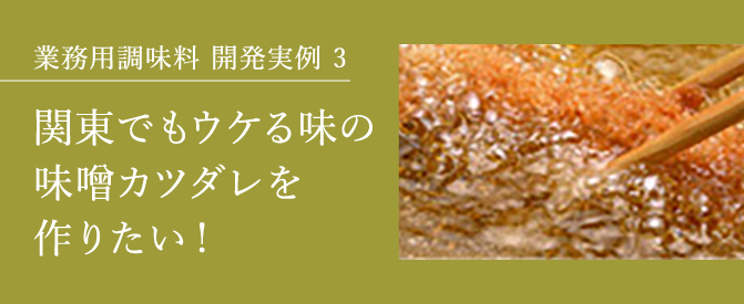 業務用調味料開発実例3 関東でもウケる味の味噌カツダレを作りたい!